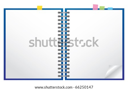White note pad with spiral, vector - stock vector