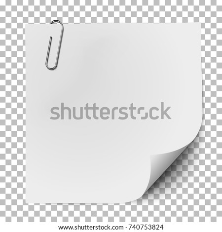 White note paper with glaring metallic clip isolated on transparent backgroundd