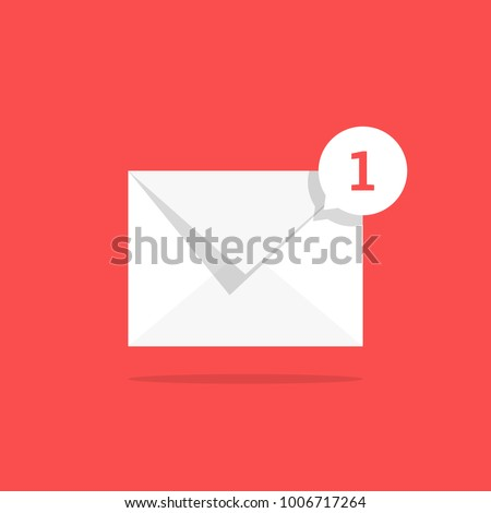 white notification 1 email icon with speech bubble. concept of online talk or speak by messages or full mail box like correspondence. trend simple ui logotype graphic design isolated on red background