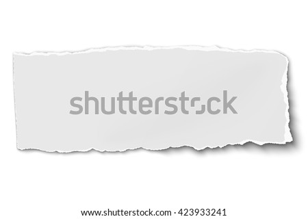 White oblong paper tear isolated on white background with soft shadow ストックフォト ©