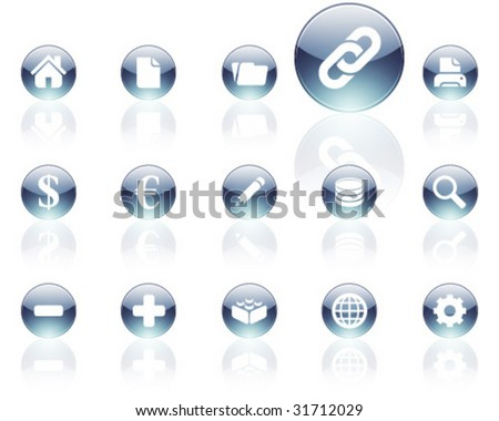 white on gray aqua icons | set 1