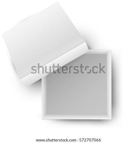 White open empty squares cardboard box isolated on white background. Mockup template for design products, package, branding, advertising. Top view. Vector illustration.