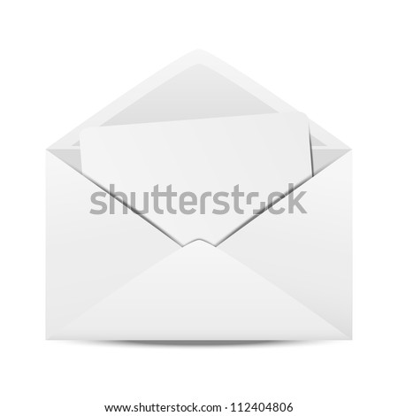 White open envelope with paper
