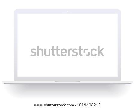 White open laptop with blank screen isolated on white background. Laptop mockup vector illustration