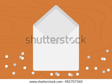 White Opened Blank Envelope empty letter. Realistic mockup template. Confetti on wood table wooden texture desk background. Flat design. Vector illustration