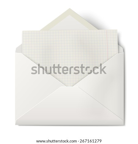 White opened envelope with sheet of squared paper inside