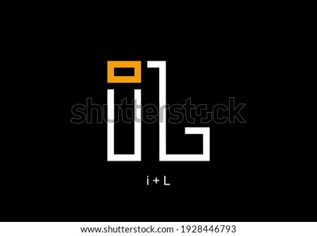 White orange of merger iL initial letter text design Foto d'archivio ©