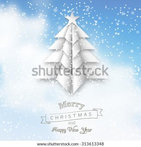 white origami christmas tree on