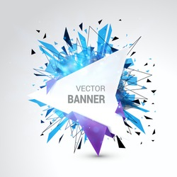 White origami paper banner wrapped with colored paper. Abstract burst bokeh decoration. Isolated on gray background. With Space For Text. Vector illustration.