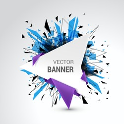 White origami paper banner wrapped with colored paper. Abstract explosion decoration. Isolated on gray background. Empty space for text. Vector illustration.