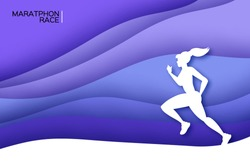 White origami young lady running. Happy fitness woman in paper cut style. Woman runner in silhouette on purple wave background. Jogging. Dynamic movement. Side view.