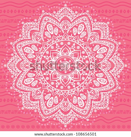 White Ornament on the pink ethnic background