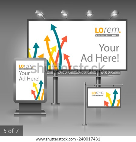 White outdoor advertising design for company with color arrows. Elements of stationery.