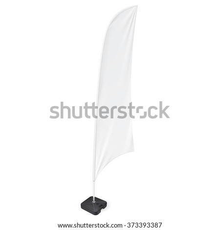 White Outdoor Feather Flag With Ground Fillable Water Base, Stander Advertising Banner Shield. Mock Up Products On White Background Isolated. Ready For Your Design. Product Packing. Vector EPS10 #373393387