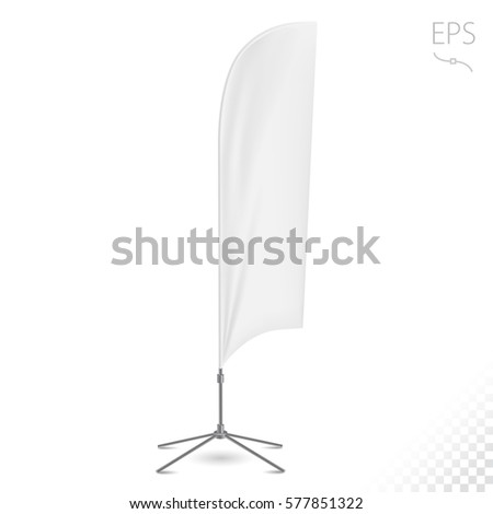 White Outdoor Panel Flag, Stander Advertising Banner Shield On White Background Isolated.  #577851322
