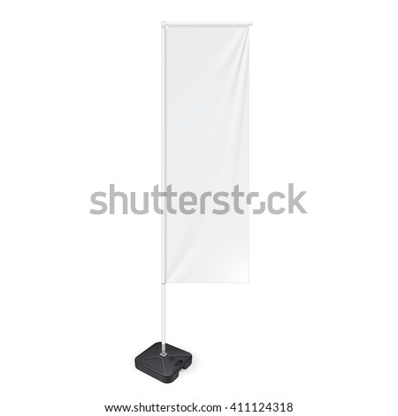 White Outdoor Panel Flag With Ground Fillable Water Base, Stander Advertising Banner Shield. Mock Up Products On White Background Isolated. Ready For Your Design. Product Packing Vector EPS10 #411124318