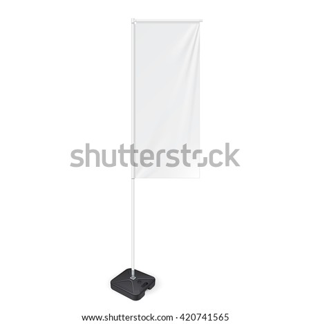 White Outdoor Panel Flag With Ground Fillable Water Base, Stander Advertising Banner Shield. Mock Up Products On White Background Isolated. Ready For Your Design. Product Packing. Vector EPS10 #420741565