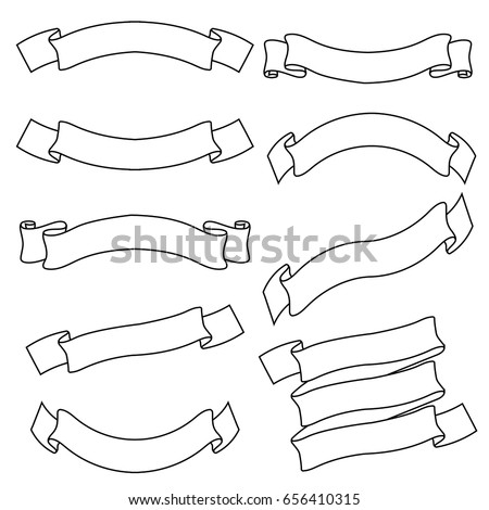 White outline ribbon banners. Title scrolls. Vector illustration isolated on white background