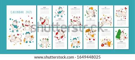 White ox calendar or planner A4 format for 2021 with kawaii cartoon ox, bull or cow, symbol of new year, cute characters - Cover and 12 monthly pages. Week starts on Monday, vector printable template