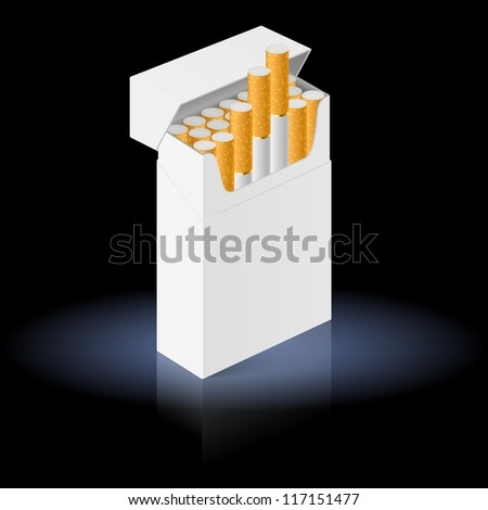White Pack of cigarettes isolated on black background