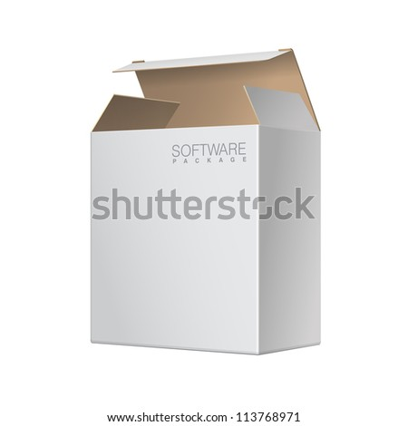 White Package Box Opened. For Software, electronic device and other products. Vector illustration