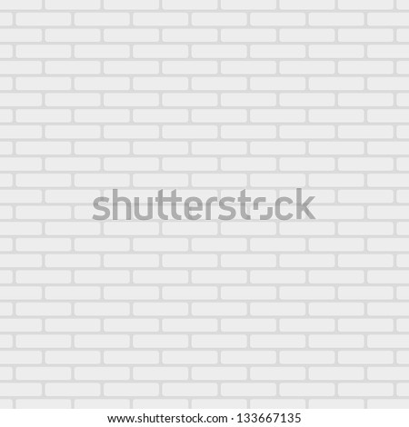 White painted brick wall pattern vector background