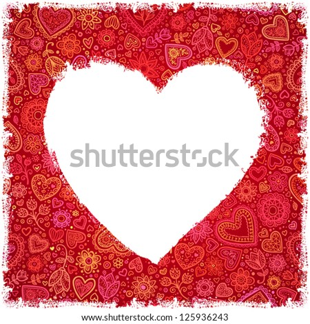 White painted heart on red ornate background, template for your greeting card