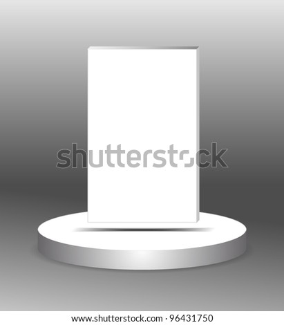 white panel hovering over white stage
