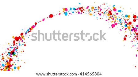 White paper background with arch of color drops. Vector illustration.