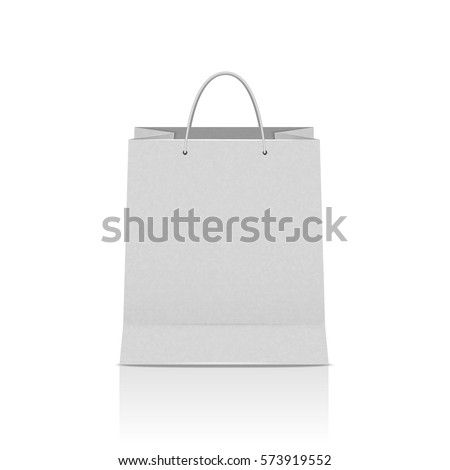 White paper bag isolated, vector illustration on sale theme, retail, stores.
