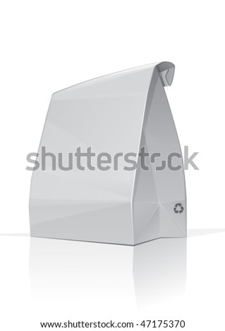 White paper bag, packed lunch for school or office