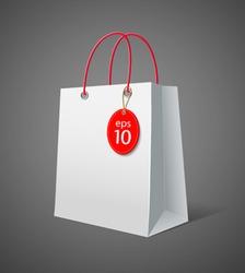 White paper bag. vector illustration