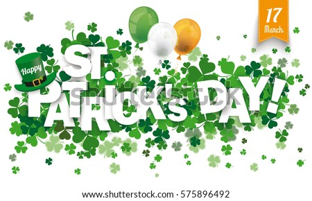 White paper banner for St Patricks Day. Eps 10 vector file.