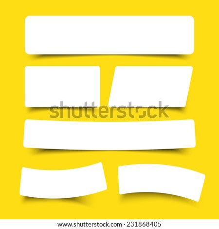 white paper banner round corner with drop shadows on yellow background vector illustration