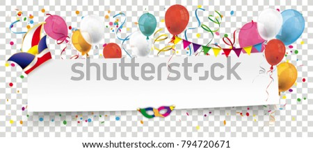 White paper banner with balloons, jesters cap and confetti on the checked background. Eps 10 vector file.