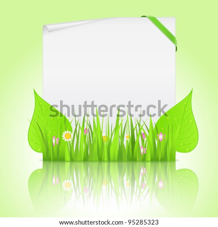 White paper banner with corner ribbon and green grass with leaves, vector eps10 illustration