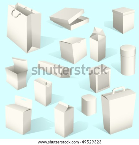 White Paper Boxes and packages Set Vector. Also available in raster.