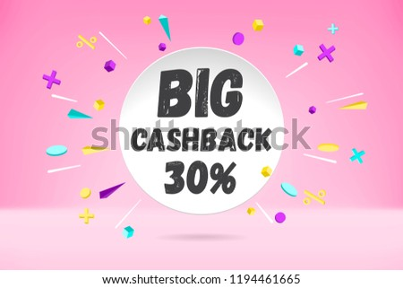 White paper bubble cloud with text BIG CASHBACK sale, shopping promo banner, discount design. Vector poster with cloud talk, text message, explosion graphic elements concept in memphis geometric style