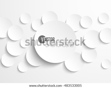 White paper circle banner with drop shadows on white background template. Vector illustration