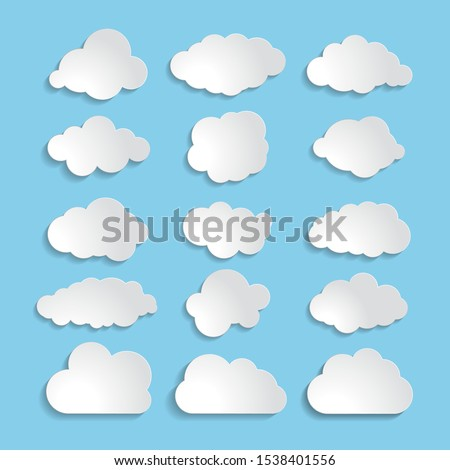white paper cloud message sign set. vector illustration for weather forecast Foto stock ©