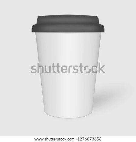 White paper coffee cup with black plastic lid, mock-up. Travel mug for hot and cold drinks, mockup. Vector template.