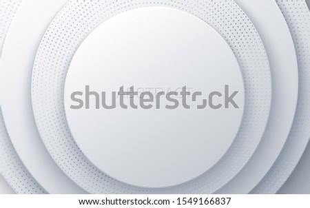 White paper cut background. Abstract realistic layered papercut decoration textured with engraved halftone pattern. 3d backdrop with circle shape layers. Vector illustration. Minimalist cover template
