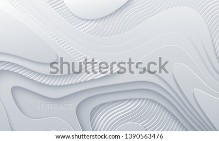 White paper cut background. Abstract realistic papercut decoration with wavy layers and engraved striped pattern. 3d topography relief. Vector topographic illustration. Cover layout template.