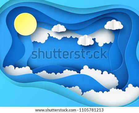 white paper cut clouds and sun