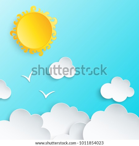 White paper cut clouds, sun and couple of two flying birds in the blue sky. Modern 3d paper art style. Vector illustration of cloudscape