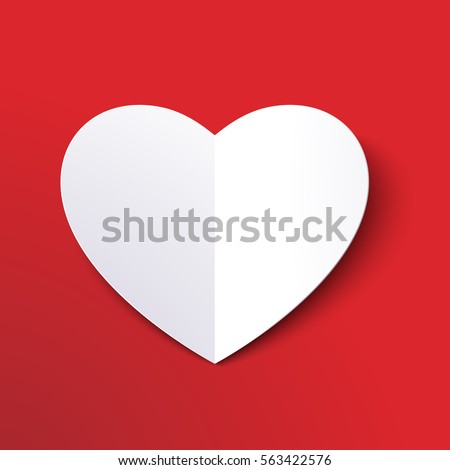 white paper cut love heart for
