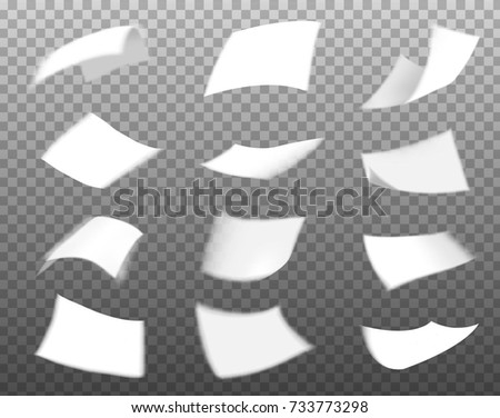 white paper flying collection isolated on transparent background, paper vector