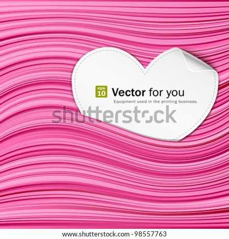 White paper hearts on pink abstract background. vector illustration