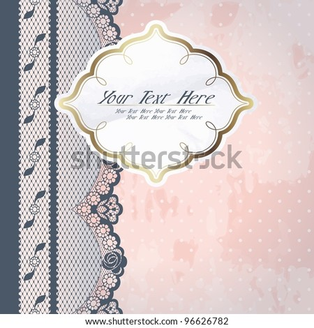 White paper label with charcoal lace (eps10); jpg version also available