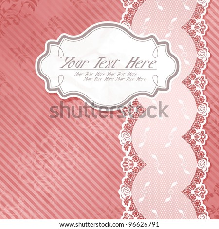 White paper label with pink and white lace ribbon (eps10); jpg version also available - stock vector